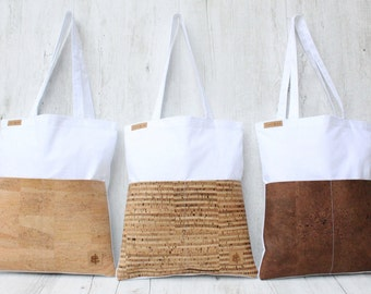 Tote bag Shopper - KORK Brautjungfer Geschenk (white & striped)