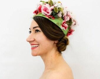 60s Flower Hat | Green Flowered hat | Junior B