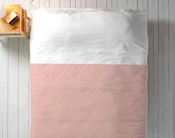 Blush White Duvet, Color Block Duvet, Queen Duvet, King Duvet, Twin Duvet, Minimal Duvet, Modern Bedding, Neutral Bedding, Minimal Bedding