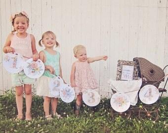 Floral Printable Banner /// Birthday Banner /// Pregnancy Announcement Banner /// DIY