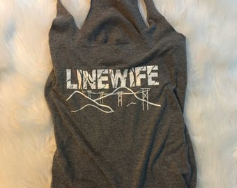 Linewife tank. Birds on a wire/powerline landscape