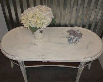 Coffee Table Shabby Cottage Chic White Oval Coffee Table Vintage MERSMAN Coffee Table French Country Coffee Table