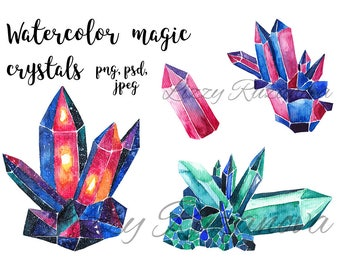 Watercolor magic crystals. Hand painted illustration PSD