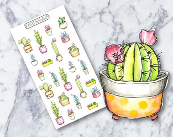 Cacti & Succulents / Planner Stickers / Hand Drawn / Doodle / Tracking /  Fits Erin Condren and MAMBI / Filofax / Kikki K / Scrapbook