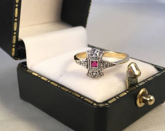 18ct Yellow Gold and Platinum Edwardian Ruby and Diamond Ring SIZE L(UK) 6(US)