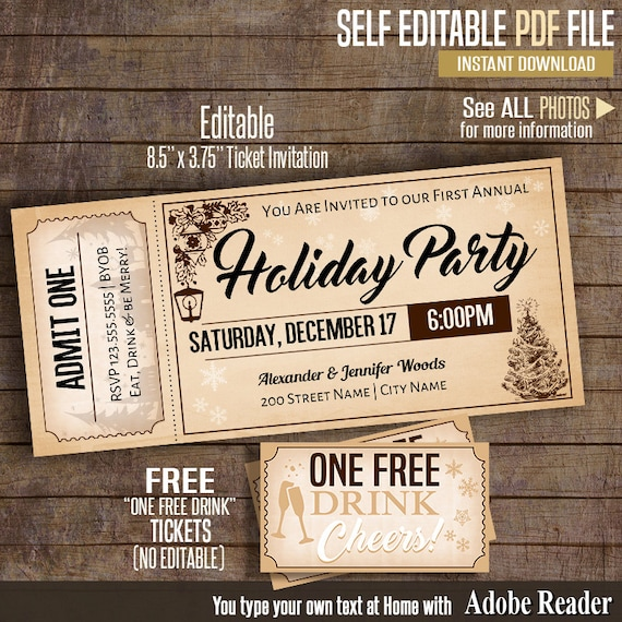 Christmas Party Ticket Invitation, Printable Holiday Party Invite, Instant  Download Self Editable PDF File A168  Christmas Party Ticket Template Free