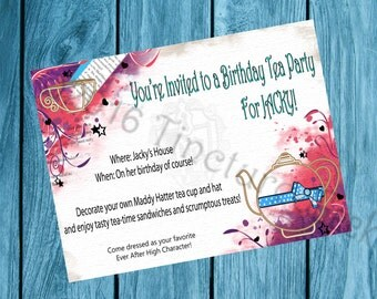 """Madeline Hatter Ever After High Themed Birthday Inviation (5x7"""")"""