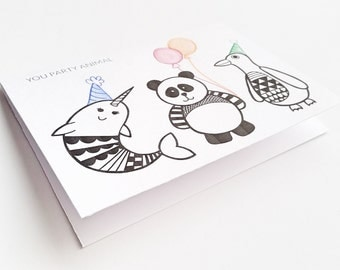 Funny Birthday Card / You Party Animal / Cute Birthday Card / Silly Birthday Card / Birthday Card / Black and White Birthday Card