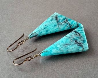 Amazonite Triangle Earrings, Turquoise Aqua Blue Gemstone, Long Natural Stone Slab, Oxidized Brass, Hypoallergenic Niobium