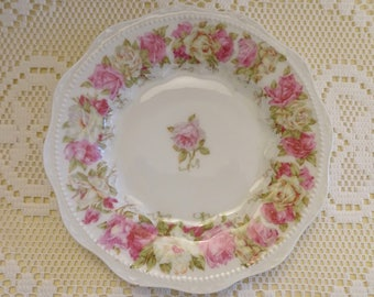 """Hermann Ohme 6"""" Pink  and Yellow Rose Border Butter Plate - Silesia"""