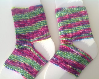 Yoga socks, dance socks, toe and heelless exercise socks.Merino ,silk, cashmere blend luxury yarn.Fuchsia, lime , purple, turquoise.