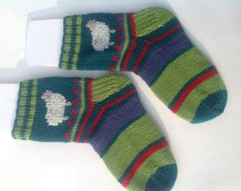 Sheep socks, thick Handknit slipper socks, sheep motif, teal, lime, purple and red stripes.