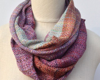 Scarf infinity handwoven multicolor coral lavender mint  burnt orange bamboo cotton rayon