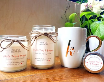 White Tea & Ginger Soy Candle (2oz. 8oz. 12 oz.)