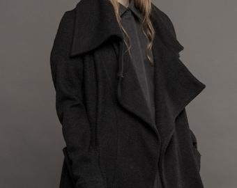 Wool coat / Assymmetric coat / Black asymmetric sweater / Black draped coat / Black draped sweater