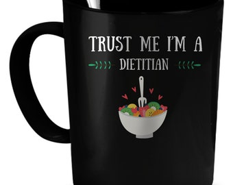 Dietitian Mug, Coffee Cup, Gift For Dad, Husband Gift, Tea Mug, Tea Cup, Vegan Gift, Dietitian Cup, Black Pottery Cup, Ceramic Mug