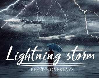 Lightning storm Photo Overlays, photoshop overlays, cloud overlays, lightning overlays, storm overlays