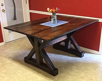 farmhouse table barnwood trestle table table and benches reclaimed solid oak barnwood - Barnwood Kitchen Table