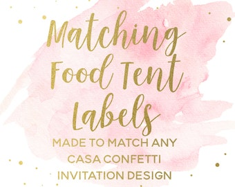 Matching Food Tent Labels for any Design, Custom Baby Shower Birthday Bridal Shower Baptism Food Labels, Party Printable Decorations
