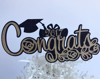 Congrats Grad Cake topper, Black and Gold Cake topper, 2017 Graduation Cake Topper