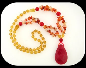 Handcraftrd Ruby PENDANT Citrine Glass Carnelian Quartz Bead NECKLACE