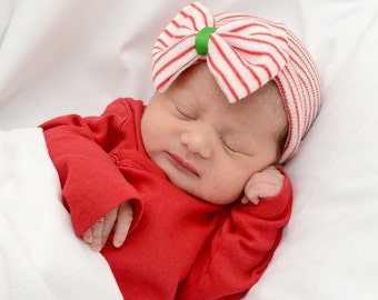 Christmas baby hat, Christmas hospital hat, red green baby hat, red baby hat, Christmas newborn hat, newborn hospital hat, girl hospital hat