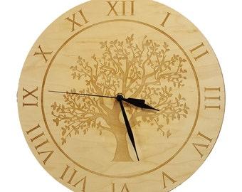 Engraved Oak Tree Clock - Maple Wood