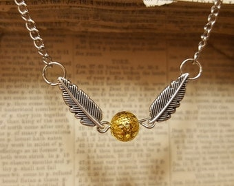 Free Shipping - Golden Snitch Harry Potter Necklace with Chain