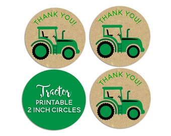 Tractor Party, Tractor Birthday, Tractor Favor Tags, INSTANT DOWNLOAD, Tractor Thank You Tags, Printable Thank You Tags, Tractor Theme