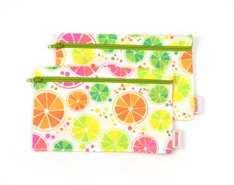 2 Reusable snack bags - citrus green zipper