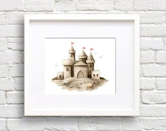 Sand Castle Art Print Nursery Watercolor Painting