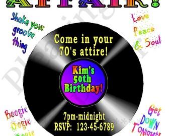 """70's party invitation, 80's party invitation, I love the 70's, I love the 80's, retro 70's invitation, 8.5"""" x 11"""", email or mail ready"""