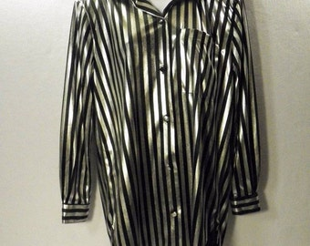 NWT NEW Gianna Women's Sz S Black Silver Metallic Striped Vintage Shirt