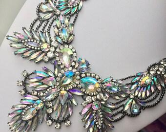 Statement bib fashion modern Aztec Aurora Borealis clear crystal necklace prom wedding Birthday anniversary gift