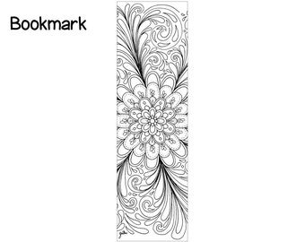 Bookmark Floral Dream Adult Coloring Page Printable