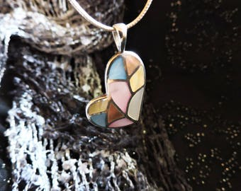 Heart Shell Pendant Necklace Sterling Silver