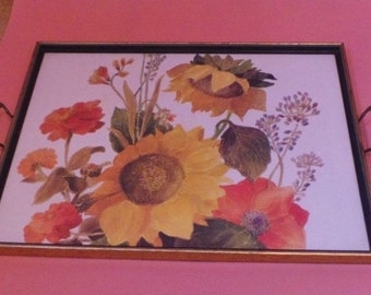 Vintage Kitsch Large Serving TRAY Sunflowers Design