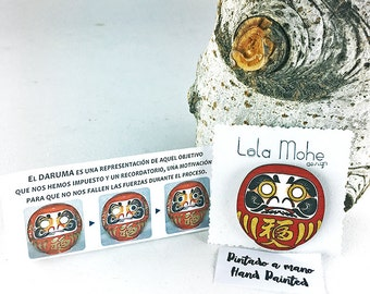 Daruma handpainted  wood brooch.