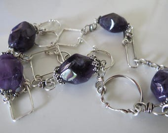 Faceted amethyst beads - sterling silver necklace - designed by Ann - FREE SHIPPING WORLDWIDE