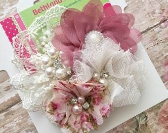 Vintage hair bow-fancy vintage flower hair clip-ivory and mauve pink bow-couture hair bow-vintage lace hair bow-pink and ivory lace hair bow