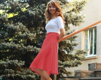 High Waist Red midi skirt, Red skirt, Red linen skirt, Red cotton skirt, Flared skirt, skirt medium, Midi skirt, Red flared skirt