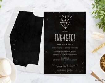 Greyson Suite : Printable Engagement Invitation, Silver Glitter, Custom, Digital Download, Wedding, Black & White, Lights, Sparkle
