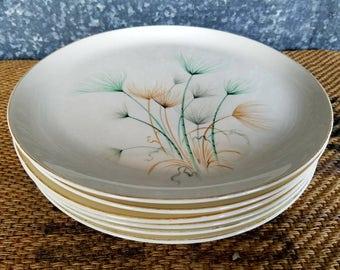 "6 Crooksville Dandelion Flower Plates, Set 10"" Dinner Plates, Great Mid Century Style"