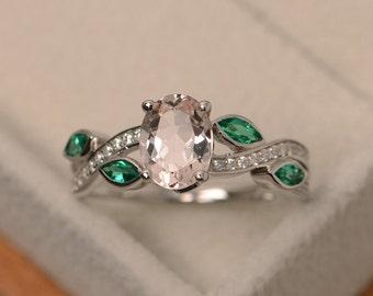 Natural morganite ring, pink gemstone ring silver, multistone rings, sterling silver, oval morganite ring