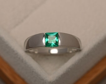 Emerald ring, engagement ring, green gemstone ring, solitaire ring, sterling silver, princess cut