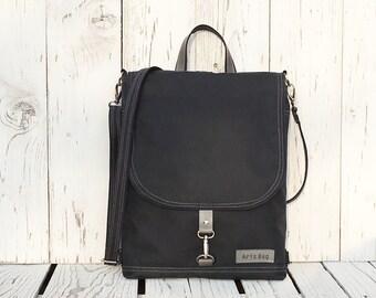 """Minimalist Waxed Canvas Backpack, Dark Navy or Black Water Repellent Rucksack, Solid Functional Crossbody Bag, 11"""" Macbook Backpack"""