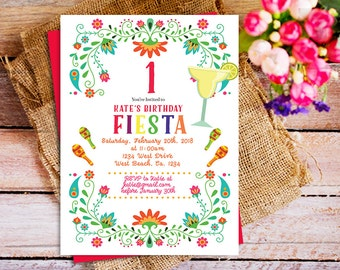 Fiesta first Birthday Party invitation, Mexican 1st birthday invitation, Fiesta 1st birthday invite, Mexican birthday invite, mexican fiesta