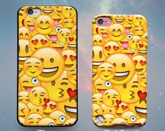 Happy Smiley Heart Face Emoji Funny Kissing Emoticon Cool Awesome Fun Great Rubber Case for iPhone 7 6s 6 Plus iPhone SE 5s 5 5c iPod Touch