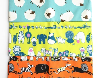 Westex Japanese Fabric 3 half yard Bundle | Animals Sheeps Zebra Lion Bear Raccoon Monkey Elephant