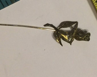 Vintage Sterling Silver  Hat pin Stick pin with roses